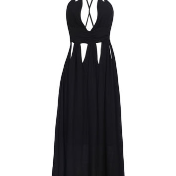 Black Plunge Neck Cut Out Detail Cross Back Cami Maxi Dress