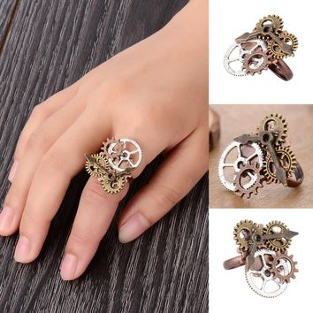 Jewelry Watch Part Gears Ring Vintage Steampunk Ring  Punk Antique Copper Rings