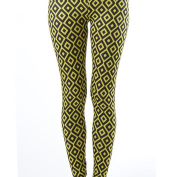Plus Size Hypnotic Diamonds Footless Yellow Leggings