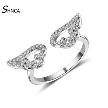 Classic Trendy Boutique 925 Sterling Silver Angel Wings Adjustable Rings For Women Anniversary Gift Silver 925 Jewelry R056