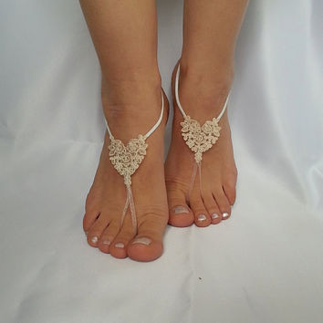bridal anklet, raw slik color ivory frame Beach wedding barefoot sandals, bangle,  anklet, free ship, bridesmaid bridal , country wedding