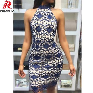 Reaqka Women Elegant Wedding Party Sexy Night Club Halter Neck Sleeveless Sheath Bodycon mini Lace Dress Short Off Shoulder 2017
