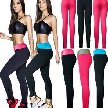 WOMEN'S FASHION Fashion Women Yoga Sports Casual Spandex Cotton High Waist Leggings Pants = 1929625156