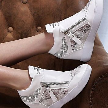 White Flat Within The Higher Rhinestone Casual Shoes