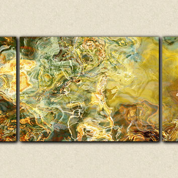 "Oversize triptych abstract expressionism 30x60 to 40x78 stretched canvas print, in earthy green, brown, teal and yellow, ""Legendary"""