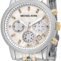 Women Watch Michael Kors MK5057 Two Tone Stainless Steel Quartz Chronograph Lin