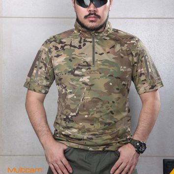 Warchief Summer Tactical Combat T Shirt Military Men Camouflage Multicam Black Arid Tropic Wolf Grey Coyote Brown(STG051120)