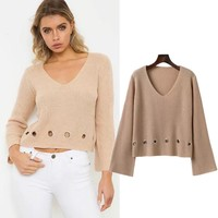 Knit Winter Women's Fashion V-neck Hollow Out Pullover Tops [31067045914]