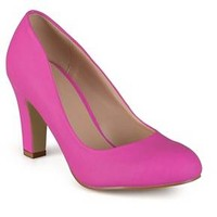 Journee Collection Women's Round Toe Matte Chunky Heel Pumps