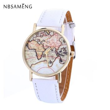New Vintage Women Watch Men Brand World Map Watches Fashion Wristwatch Casual Travel Leather Clock Relogio Masculino LZ4228