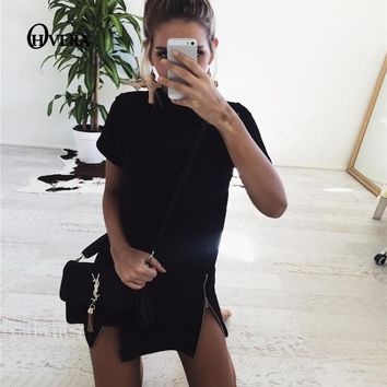 Summer Women Pencil Office Dress Plunge O Neck Short Sleeve Slim Work Party Dresses Zipper Bandage Dress Black Vestidos