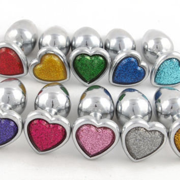 Glitter heart butt plug. BDSM anal buttplug. Mature listing for DDLG, ABDL or submissive sex toy