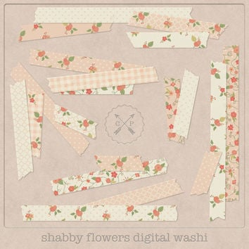 Digital Washi Tape Flowers. Slight transparent digital japanese tape floral washi clipart perfect for scrapbooking card making