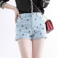 Playful Embroidery Cross Pattern Denim Light Blue High Waist Shorts