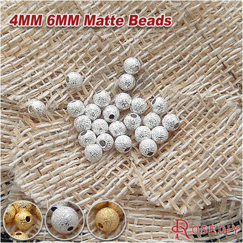 (18718-G)50PCS 4MM 6MM 8MM 10MM Silver and Gold Color Brass Metal Round Beads Matte beads Handmade Jewelry Findings Accessories