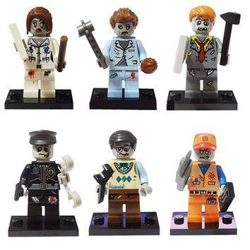 Legoings Zombies 6Pcs Walking Dead Emmet Sleepyhead Nurse Police Manger Building Brick Toy For Kids