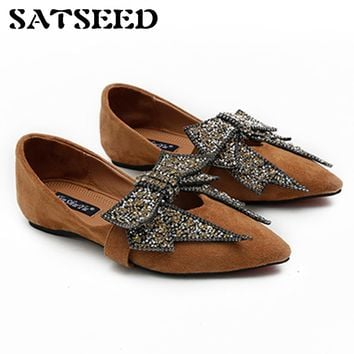 Shoes 2018 Ladies Leather Shoes Womens Pointed Toe Dress Shoes Woman Black Woman Flat Shoes Crystal Heels Sexy Flat Rubber Sole