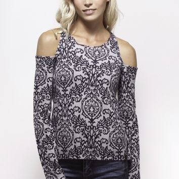 Indigo Damask Cold Shoulder