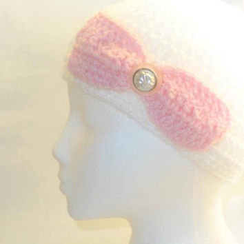 Crochet Hat, White, Pink Bow