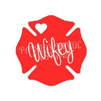 Firefighter Wife(y) Maltese Cross Decal