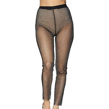 Diamond Mesh Rhinestone Pants