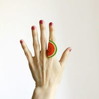 Watermelon Red Ring, summer pun-up style jewelry