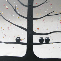 """ARTFINDER: original cute owl painting """"The Owl Squad """" painting art canvas - 16 x 20 """" by Stuart Wright - buy original painting online wall canvas art  ..."""