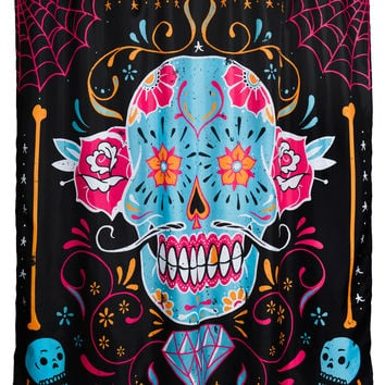 Rockabilly Shower Room Calavera Day Of The Dead Funky Sugar Skull Shower Curtain