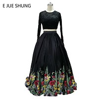 Black Print Floral Ball Gown Prom Dresses Long 2017 Keyhole Back Long Sleeves Evening Party Dresses 2 Piece Prom Dresses