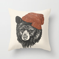zissou the bear Throw Pillow by Laura Graves