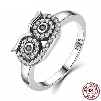 WHO? Sterling Silver Cute Owl Stackable Ring