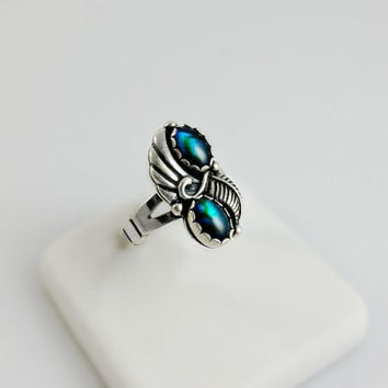 Blue Ammolite  Silver Ring Size 5 - Blue-Green Cabochon Ring - Sterling Southwestern Theme Ring - Size 5 Ring