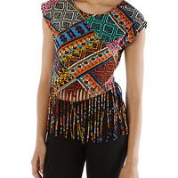 Tribal Fringed Crop Tee - Rainbow