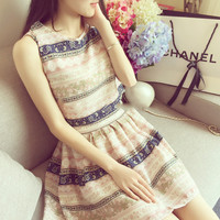 Sleeveless Chiffon Temperament Printed High Waist Thin Dress