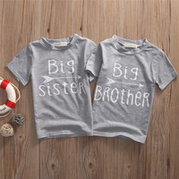 Baby Kids Girls Boy Short Sleeve Summer Cotton T-shirts Big Sister Brother Printing Kids Gray Top Tee Casual T-Shirt