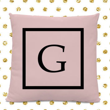Initial Pillow - Letter Pillow - Pillow with Letter G - Monogrammed Pillow - Custom Throw Pillow - Pink Letter Pillow