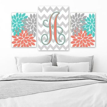 Turquoise Coral Wall Art, CANVAS or Prints, Girl Monogram Nursery Art, Flower Bedroom Art, Gray Chevron Monogram, Set of 3, Home Decor