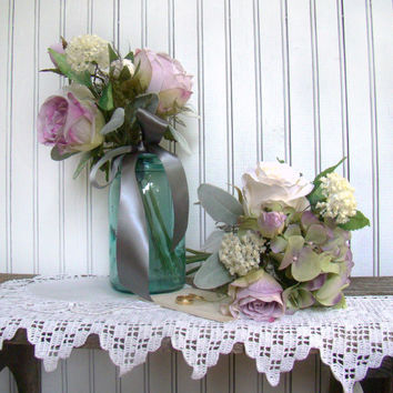 Lavender Bridesmaids Bouquet, Silk Wedding Flowers, Rose Bridal Bouquet, Grey Gray, Country, Rose, Hydrangea, Garden Bouquet
