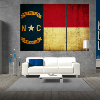 State of North Carolina flag canvas Print wall art, flag of  North Carolina canvas, large flag canvas print giclee extra large wall art t329