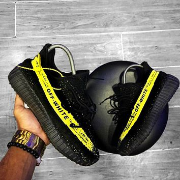 ADIDAS x Off White Yeezy Boost 350 V2 Popular Woman Men Casual Sport Sneakers Shoes Black