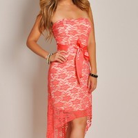 Sweet and Sexy Coral Lace Strapless High Low Maxi Dress