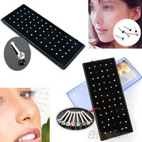Indian style 60pcs/set Crystal Rhinestone Nose Ring Bone Stud Surgical Steel Body Piercing Jewelry
