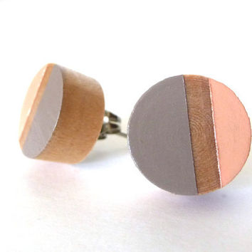 Taupe gray and peach wood post earrings, colorblock earrings, stud earrings, spring earrings, neutral earrings