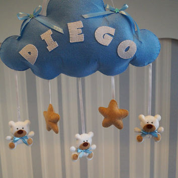 f8ef64687c90a Baby Mobile Clouds Name Felt Stars Custom Baby Name Boy Personal