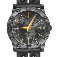 VERSUS by Versace 'Miami' Rivet & Safety Pin Leather Strap Watch, 40mm