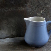 Vintage Pottery Creamer, Milk Jug, Pitcher, Blue, Syrup Serving Utensil, Kitchenalia, Country Kitchen Farmhouse Decor