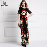 Maxi Party Dresses Women's Half Sleeve Vintage Floral Embroidered Black Lace Long Dress