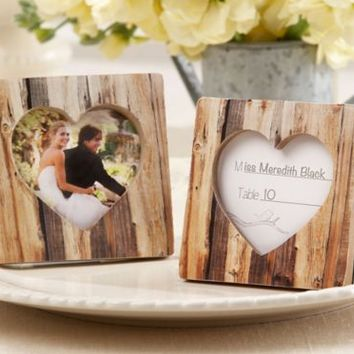 Rustic Tree Heart Picture Frame Place Card Holder 3in   Party City