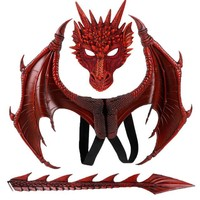 Kids Adult Cosplay Props Set Mask Wing and Tail Dragon Costume
