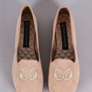 Wild Diva Lounge Embroidered Owl Loafer Flat